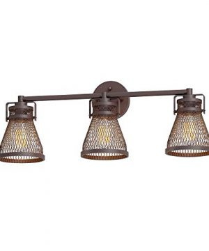 Inlight Industrial Vanity Light Oil Rubbed Bronze Farmhouse Bathroom Light Fixture Over Mirror With Meshed Metal Shade 3 LightBulb Not Included Damp Location Rated ETL Listed IN 0441 3 BZ 0 300x360