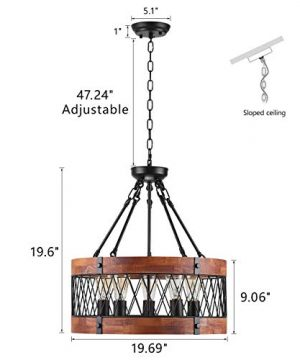 Insfashble Round Wood Metal Chandelier Modern Farmhouse Chandelier Farm Circular Antique For Kitchens Churchs Cafes Restaurants Bars And Hotels Five Lights 0 0 300x360