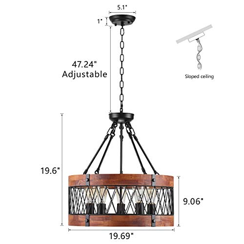 Insfashble Round Wood Metal Chandelier Modern Farmhouse Chandelier Farm Circular Antique For Kitchens Churchs Cafes Restaurants Bars And Hotels Five Lights 0 0