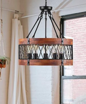 Insfashble Round Wood Metal Chandelier Modern Farmhouse Chandelier Farm Circular Antique For Kitchens Churchs Cafes Restaurants Bars And Hotels Five Lights 0 3 300x360
