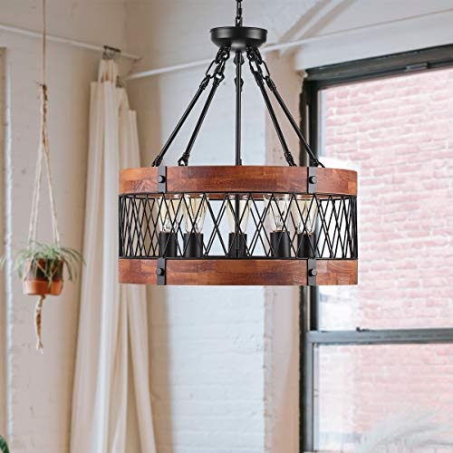 Insfashble Round Wood Metal Chandelier Modern Farmhouse Chandelier Farm Circular Antique For Kitchens Churchs Cafes Restaurants Bars And Hotels Five Lights 0 3