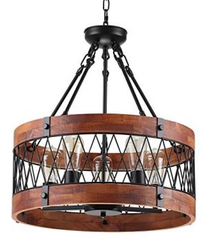 Insfashble Round Wood Metal Chandelier Modern Farmhouse Chandelier Farm Circular Antique For Kitchens Churchs Cafes Restaurants Bars And Hotels Five Lights 0 300x360