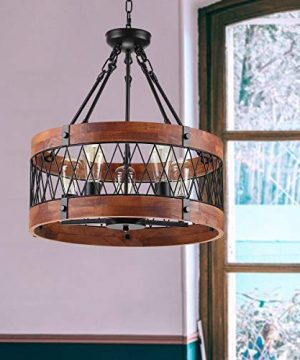 Insfashble Round Wood Metal Chandelier Modern Farmhouse Chandelier Farm Circular Antique For Kitchens Churchs Cafes Restaurants Bars And Hotels Five Lights 0 4 300x360