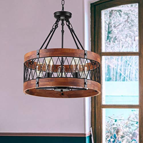 Insfashble Round Wood Metal Chandelier Modern Farmhouse Chandelier Farm Circular Antique For Kitchens Churchs Cafes Restaurants Bars And Hotels Five Lights 0 4