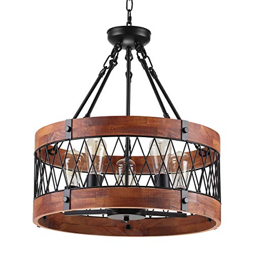 Insfashble Round Wood Metal Chandelier Modern Farmhouse Chandelier Farm Circular Antique For Kitchens Churchs Cafes Restaurants Bars And Hotels Five Lights 0