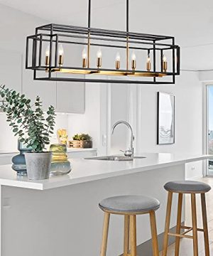 JE Home 8 Light Farmhouse Square Pendant Light FixturesHanging Island Lights Linear Chandeliers For Dining Room Kitchen Wrought Iron Finish BlackAntique Brass 0 300x360