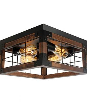JHLBYL Farmhouse Wood Flush Mount Ceiling LightBlack Metal Rustic Close To Ceiling Lighting Industrial Square Wire Cage Ceiling Light Fixture With 4 E26 Blub Socket For Farmhouse Kitchen Dining Room 0 300x360