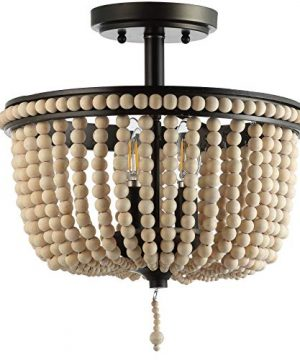 JONATHAN Y JYL9020A Allie 14 Wood BeadedMetal LED Flush Mount BlackLight Taupe Contemporary Transitional For Bedroom Living Room Office 0 300x360