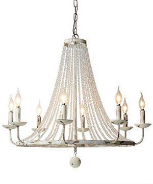 Jiuzhuo Rustic Vintage Candle Style Crystal Bead Strands Metal Wheel Large Chandelier Lighting Hanging Ceiling FixtureDistressed White 8 Light 0 300x360