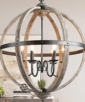 KSANA Wood Orb Chandelier 27 Large Globe Chandeliers For Dining Rooms Living Room And Foyer 0 300x360