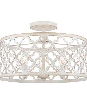 Kira Home Sutton 16 3 Light Modern Semi Flush Mount Ceiling Light Metal Drum Shade Antique White Finish 0 300x360