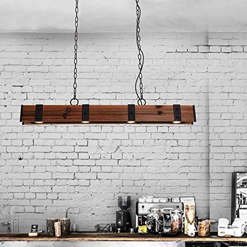 KunMai Industrial Loft Style 4 Light LED Linear RustBlack Wood Metal Island Pendant Light Rust 0 1