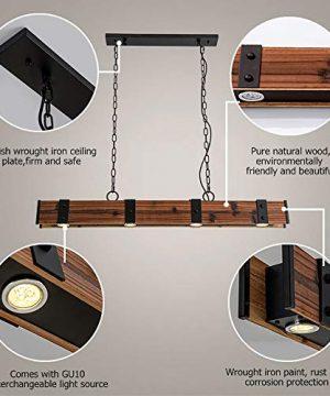 KunMai Industrial Loft Style 4 Light LED Linear RustBlack Wood Metal Island Pendant Light Rust 0 2 300x360