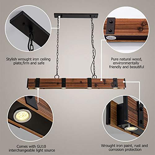 KunMai Industrial Loft Style 4 Light LED Linear RustBlack Wood Metal Island Pendant Light Rust 0 2
