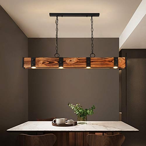 KunMai Industrial Loft Style 4 Light LED Linear RustBlack Wood Metal Island Pendant Light Rust 0 3