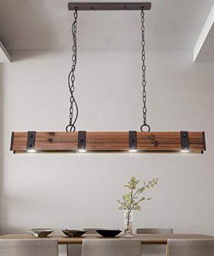 KunMai Industrial Loft Style 4 Light LED Linear RustBlack Wood Metal Island Pendant Light Rust 0 300x360