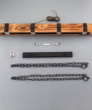 KunMai Industrial Loft Style 4 Light LED Linear RustBlack Wood Metal Island Pendant Light Rust 0 4 300x360
