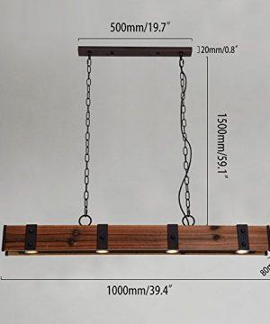 KunMai Industrial Loft Style 4 Light LED Linear RustBlack Wood Metal Island Pendant Light Rust 0 5 300x360