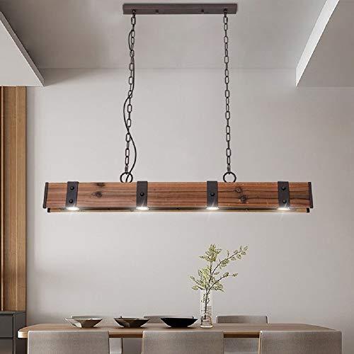 KunMai Industrial Loft Style 4 Light LED Linear RustBlack Wood Metal Island Pendant Light Rust 0