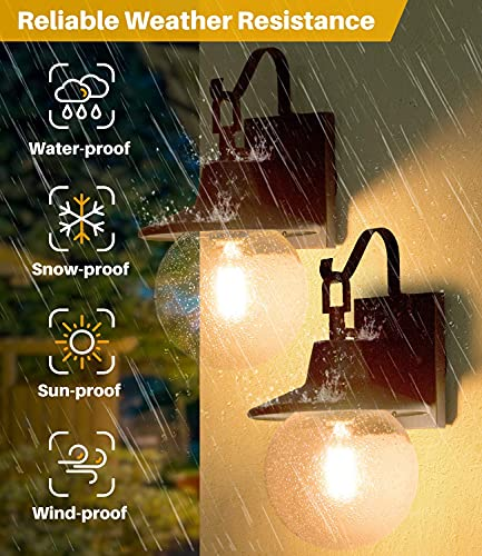 LALUZ 2 Pack Farmhouse Porch Light Outdoor Wall Sconce Globular Patio Wall Lantern Exterior Wall Mount Light In Rustic Bronze With Seeded Glass Globe For Porch Garage Max 40W 0 2