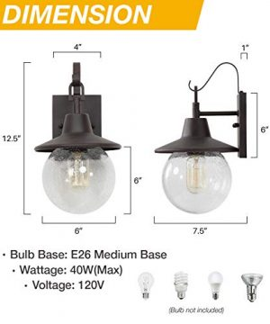 LALUZ 2 Pack Farmhouse Porch Light Outdoor Wall Sconce Globular Patio Wall Lantern Exterior Wall Mount Light In Rustic Bronze With Seeded Glass Globe For Porch Garage Max 40W 0 3 300x360