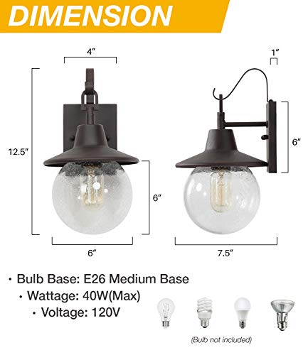 LALUZ 2 Pack Farmhouse Porch Light Outdoor Wall Sconce Globular Patio Wall Lantern Exterior Wall Mount Light In Rustic Bronze With Seeded Glass Globe For Porch Garage Max 40W 0 3