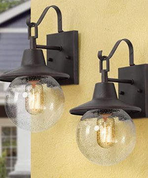 LALUZ 2 Pack Farmhouse Porch Light Outdoor Wall Sconce Globular Patio Wall Lantern Exterior Wall Mount Light In Rustic Bronze With Seeded Glass Globe For Porch Garage Max 40W 0 300x360
