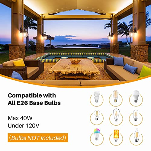 LALUZ 2 Pack Farmhouse Porch Light Outdoor Wall Sconce Globular Patio Wall Lantern Exterior Wall Mount Light In Rustic Bronze With Seeded Glass Globe For Porch Garage Max 40W 0 4
