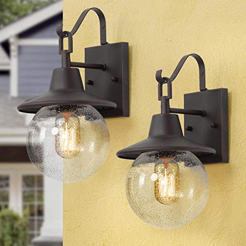 LALUZ 2 Pack Farmhouse Porch Light Outdoor Wall Sconce Globular Patio Wall Lantern Exterior Wall Mount Light In Rustic Bronze With Seeded Glass Globe For Porch Garage Max 40W 0