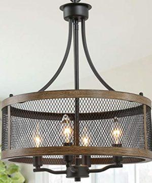 LALUZ Farmhouse Chandelier Dining Room Light Fixture Drum Chandeliers 16Width Oil Black Wood Painted Finish 0 300x360