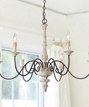 LALUZ Farmhouse Chandelier French Country Chandelier For Dining Room White Distressed Wood 37 L X 28 H 0 300x360