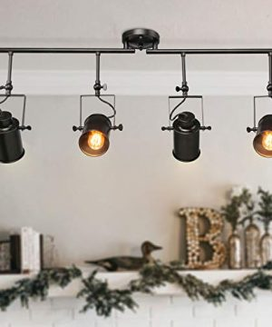 LALUZ Track Lighting Kit Semi Flush Mount Close To Ceiling Fixture With 4 Adjustable Heads 364 Inches Matte Black 4 Light 0 300x360