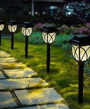 LAMTREE Solar Lights Garden Outdoor Classic 8 Packs LED Solar Path Light Ground For Lawn Landscape Patio Yard Pathway Walkway Driveway Sideway Warm White 0 300x360