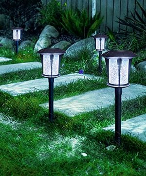 LANSGARINE Solar Lights Outdoor Garden StakesGlassSun Powered LED Yard Lights Waterproof Decorative Landscape Lighting For Yard Lawn Patio Walkway Spike Pathway Driveway Cool White6 Pack 0 300x360