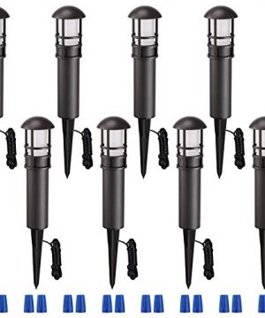LEONLITE 8 Pack LED Landscape Pathway Light 3W 18W Eqv ACDC 12V Low Voltage Path Lighting IP65 Waterproof Non Dimmable ETL Listed Bronze Aluminum Housing 3000K Warm White 0 300x360