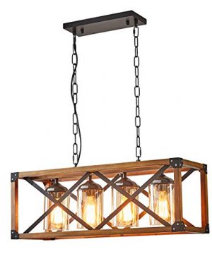 LIANSHUN Kitchen Island Lighting Linear Industrial Chandelier Metal Farmhouse Chandelier For Kitchen And Dining Room 4 Lights E26 Bulb For Farmhouse Restaurant Kitchen Living Room Hallway 0 300x360