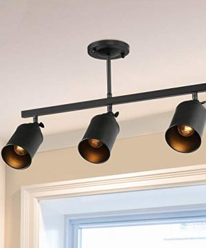 LNC 3 Light Track Lighting With Adjustable HeadsIndustrial Ceiling Light With Black Metal For KitchenHallway And Living Room 0 300x360