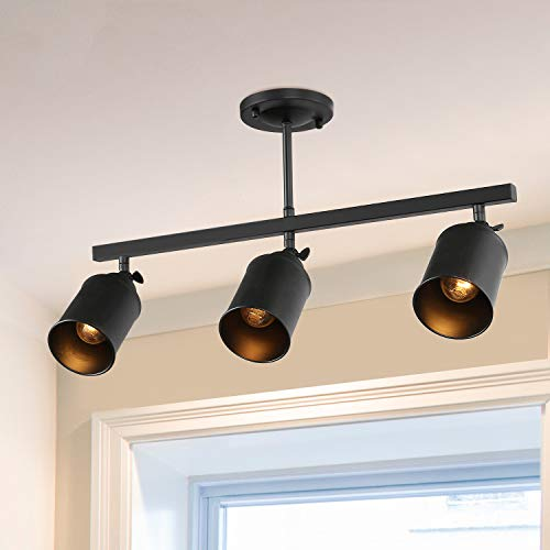 LNC 3 Light Track Lighting With Adjustable HeadsIndustrial Ceiling Light With Black Metal For KitchenHallway And Living Room 0
