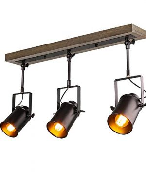 LNC Adjustable Track Lighting Fixture Farmhouse 3 Heads Ceiling Spotlight For Kitchen Dining Living Room Foyer And Cloakroom Wall Wood Black 0 300x360