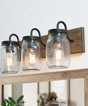 LNC Bathroom Vanity Fixtures Farmhouse Mason Jar Lights With Faux Wood Finish L18 X H8 X W95 Brown 0 300x360