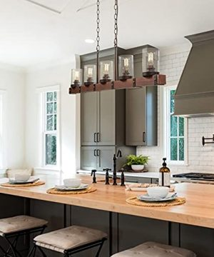 LNC Farmhouse Chandelier 5 Light Kitchen Island Lighting Wood Chandelier With Seeded Glass Shade 43 L 0 1 300x360