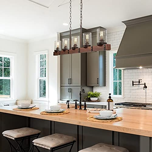 LNC Farmhouse Chandelier 5 Light Kitchen Island Lighting Wood Chandelier With Seeded Glass Shade 43 L 0 1