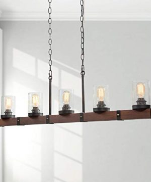 LNC Farmhouse Chandelier 5 Light Kitchen Island Lighting Wood Chandelier With Seeded Glass Shade 43 L 0 300x360