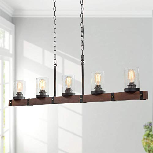 LNC Farmhouse Chandelier 5 Light Kitchen Island Lighting Wood Chandelier With Seeded Glass Shade 43 L 0
