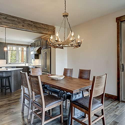 LOG BARN Farmhouse Chandelier Antler Chandelier For Dining Room Deer Horn In Hand Polished Resin 6 Light 265 Dia 0 1