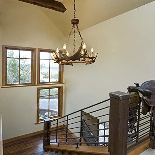 LOG BARN Farmhouse Chandelier Antler Chandelier For Dining Room Deer Horn In Hand Polished Resin 6 Light 265 Dia 0 2