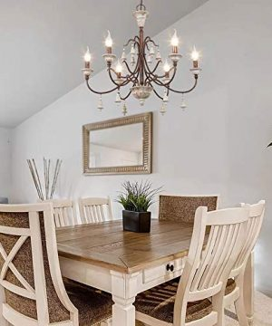 LOG BARN Farmhouse Chandelier For Dining Room 6 Light French Country Lighting With Wood Bell Rust Metal Arms 265 Dia 0 0 300x360