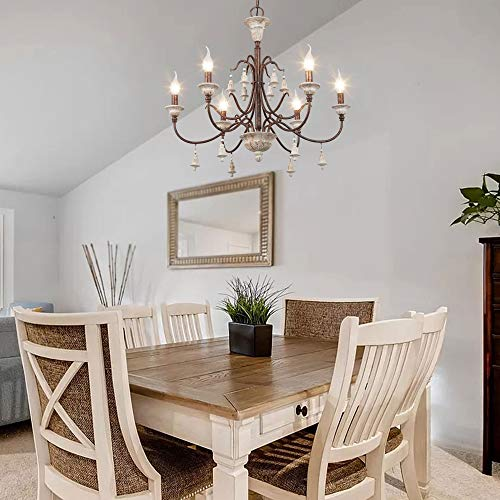 LOG BARN Farmhouse Chandelier For Dining Room 6 Light French Country Lighting With Wood Bell Rust Metal Arms 265 Dia 0 0