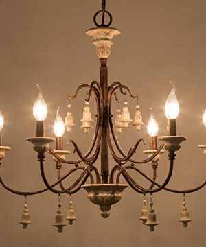 LOG BARN Farmhouse Chandelier For Dining Room 6 Light French Country Lighting With Wood Bell Rust Metal Arms 265 Dia 0 3 300x360