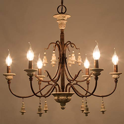 LOG BARN Farmhouse Chandelier For Dining Room 6 Light French Country Lighting With Wood Bell Rust Metal Arms 265 Dia 0 3